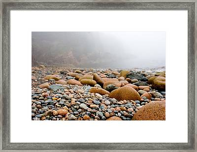 Foggy Frosting On The Rocks Framed Print by Brent L Ander