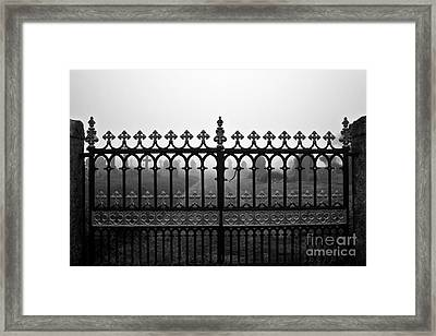 Foggy Grave Yard Gates Framed Print by Terri Waters