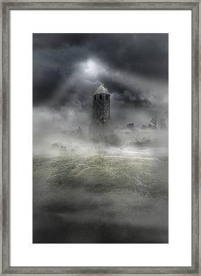 Foggy Landscape With Dark Tower Framed Print by Jaroslaw Blaminsky