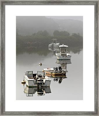 Foggy Moorings Framed Print by Carl Jacobs