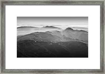 Foggy Mountains Framed Print by Nadya Ost