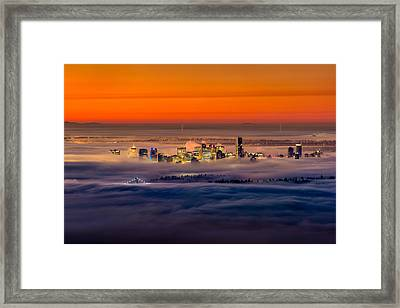 Foggy Sunrise Crop Framed Print by Alexis Birkill