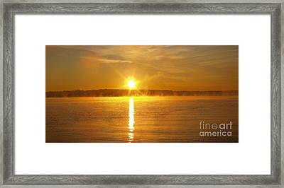 Foggy Sunrise Over Manhassett Bay Framed Print by John Telfer
