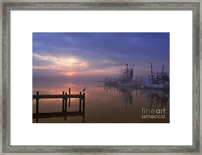 Foggy Sunset Over Swansboro Framed Print by Benanne Stiens