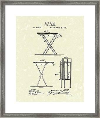 Folding Table 1878 Patent Art Framed Print by Prior Art Design