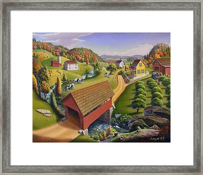 Folk Art Covered Bridge Appalachian Country Farm Summer Landscape - Appalachia - Rural Americana Framed Print by Walt Curlee