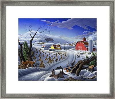 Folk Art Winter Landscape Framed Print by Walt Curlee