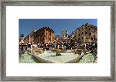Fontana Della Barcaccia At Piazza Di Framed Print by Panoramic Images