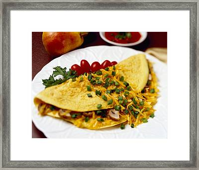 Food - Cheese And Mushroom Omelette Framed Print by Ed Young