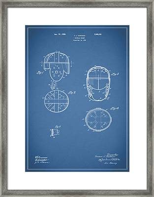 Football Helmet 1922 - Blue Framed Print by Mark Rogan