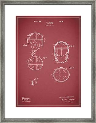 Football Helmet 1922 - Red Framed Print by Mark Rogan