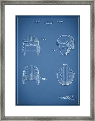Football Helmet 1935 - Blue Framed Print by Mark Rogan