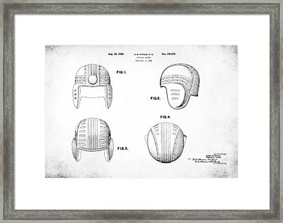 Football Helmet 1936 - White Framed Print by Mark Rogan