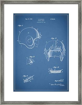 Football Helmet 1954 - Blue Framed Print by Mark Rogan
