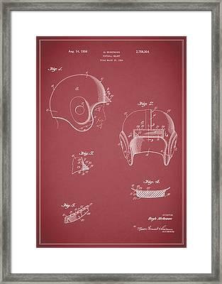Football Helmet 1954 - Red Framed Print by Mark Rogan