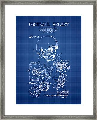 Football Helmet Patent From 1960 - Blueprint Framed Print by Aged Pixel