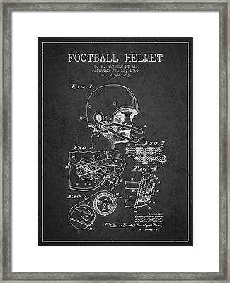 Football Helmet Patent From 1960 - Charcoal Framed Print by Aged Pixel