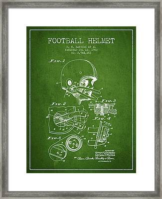 Football Helmet Patent From 1960 - Green Framed Print by Aged Pixel