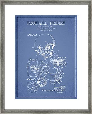Football Helmet Patent From 1960 - Light Blue Framed Print by Aged Pixel