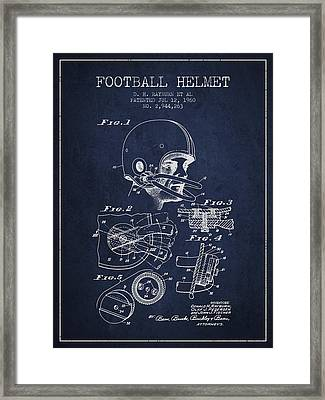 Football Helmet Patent From 1960 - Navy Blue Framed Print by Aged Pixel