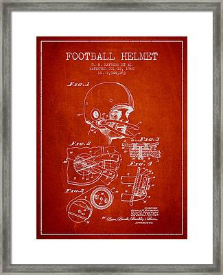 Football Helmet Patent From 1960 - Red Framed Print by Aged Pixel