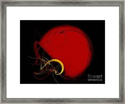 Football Helmet Red Fractal Art 2 Framed Print by Andee Design