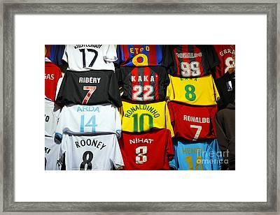 Football Shirts Inside The Grand Bazaar In Istanbul Turkey Framed Print by Robert Preston