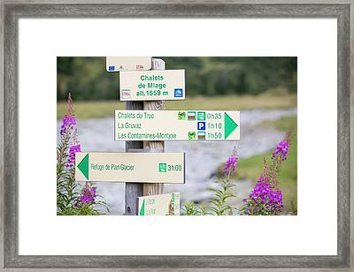 Footpath Signs On The Tour Du Mont Blanc Framed Print by Ashley Cooper