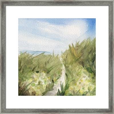 Footpath Through Dunes Cape Cod Beach Painting Framed Print by Beverly Brown Prints