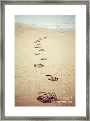 Footprints In Sand Retro Picture Framed Print by Paul Velgos