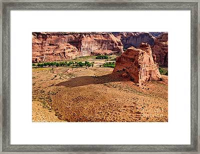 Footprints In The Sand  Canyon Dechelly Framed Print by Bob and Nadine Johnston