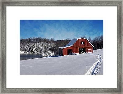 Patriotic Snowscape Framed Print by Benanne Stiens