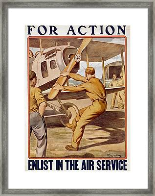 For Action, Enlist In The Air Service Framed Print by Otho Cushing