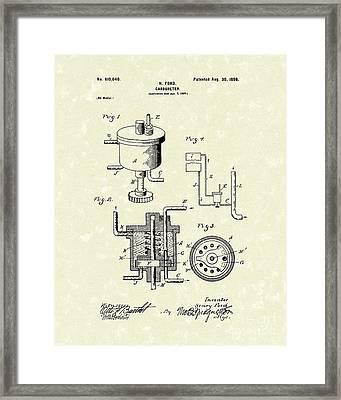 Ford Carburetor 1898 Patent Art Framed Print by Prior Art Design