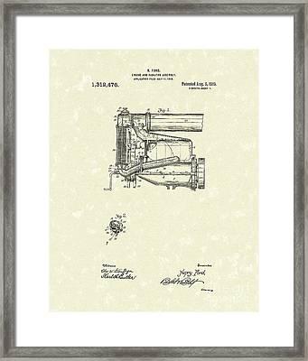 Ford Engine Assembly 1919 Patent Art Framed Print by Prior Art Design