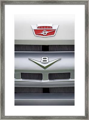 Ford Grille V8 Custom Cab Emblem  Framed Print by Jill Reger
