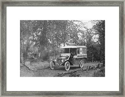 Ford Model T Ambulance Framed Print by Library Of Congress