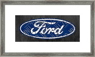 Ford Motor Company Retro Logo License Plate Art Framed Print by Design Turnpike
