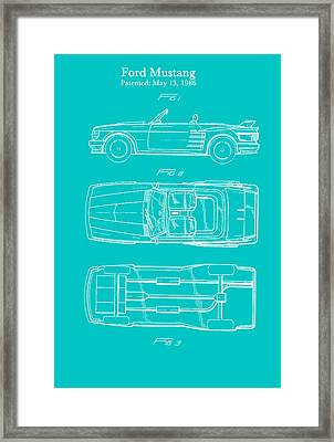 Ford Mustang Automobile Body Patent 1986 Framed Print by Mountain Dreams