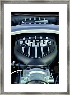 Ford Mustang Boss 302 Engine Framed Print by Jill Reger