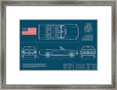 Ford Mustang Convert Blueplanprint Framed Print by Douglas Switzer