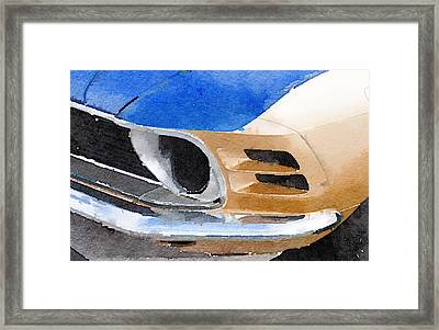 Ford Mustang Front Detail Watercolor Framed Print by Naxart Studio