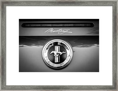 Ford Mustang Gas Cap Emblem -0002bw Framed Print by Jill Reger
