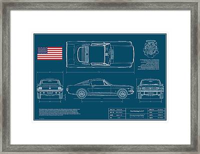 Ford Mustang Gt Fastback Blueplanprint Framed Print by Douglas Switzer