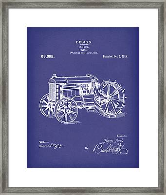 Ford Tractor 1919 Patent Art Blue Framed Print by Prior Art Design