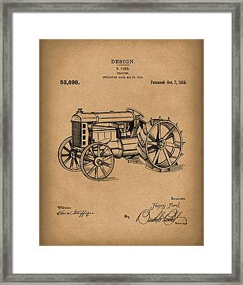 Ford Tractor 1919 Patent Art Brown Framed Print by Prior Art Design