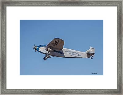 Ford Tri-motor In Flight Framed Print by Allen Sheffield
