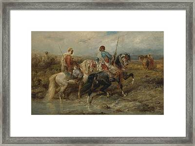Fording A Stream Framed Print by Celestial Images