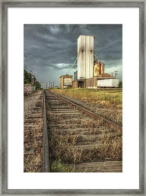 Foreboding Sky Above A Prairie Sentinel - Storm - Railroad Tracks Framed Print by Jason Politte