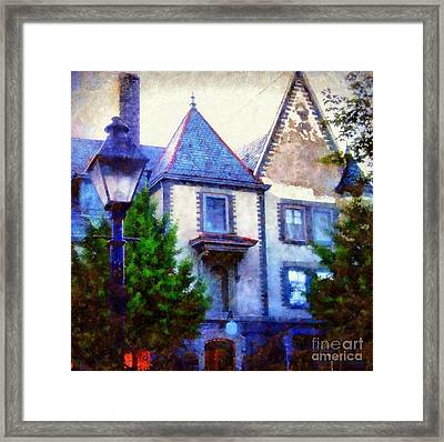 Forest Hall Milford Pa By Lamplight Framed Print by Janine Riley